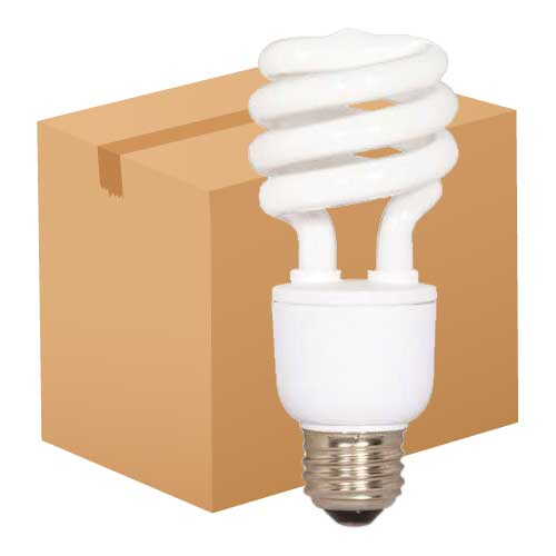 13W MINI SPIRAL CFL 5000K. CASE OF 48..