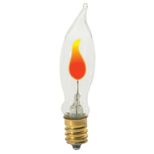 3W PETITE FLICKER FLAME-TIP CANDELABRA BASE 120V. CASE OF 25..
