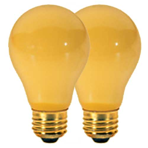 40W A19 YELLOW BUG LAMP 130V. CASE OF 48..