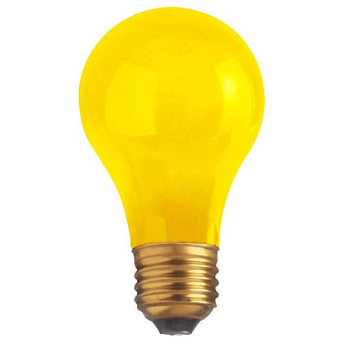40W A19 CERAMIC YELLOW LAMP 130V. CASE OF 12..