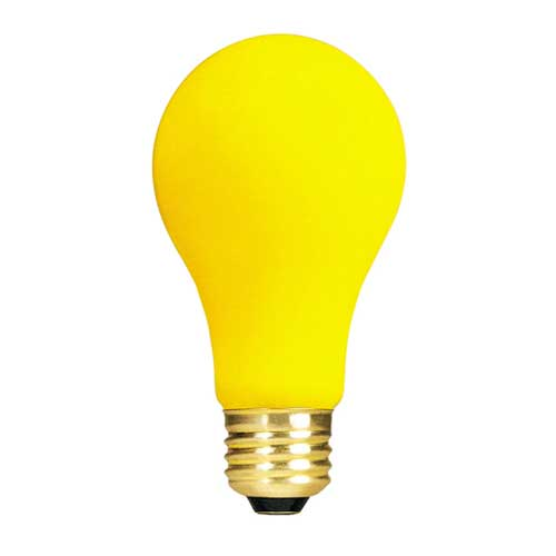 60W A19 YELLOW BUG LAMP 130V. CASE OF 24