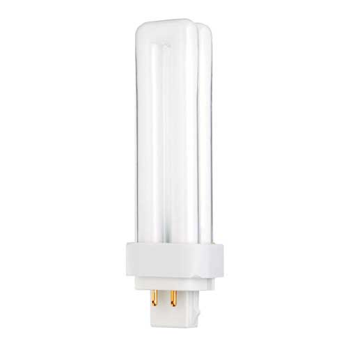 13W 4-PIN DOUBLE TUBE CFL 3500K. CASE OF 10