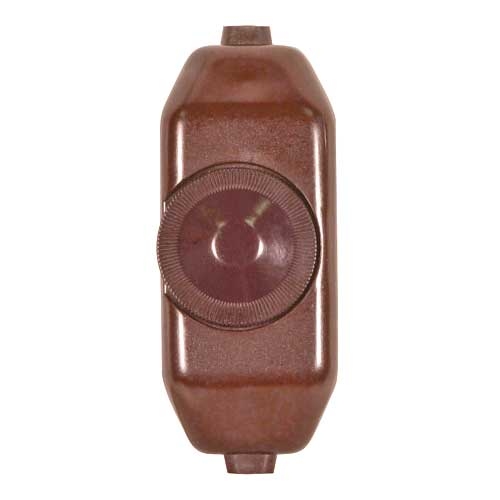 Full Range Lamp Cord Rotary Dimmer Switch - Brown Phenolic - 200W-120V