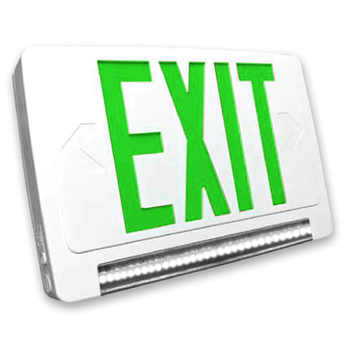 Lightpipe LED Exit & Emergency Combo (Green Letters)