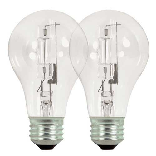 Satco S2404 72a19 Hal Es Cl 72w A19 Clear High Efficiency Halogen Light Bulb 120v 2 Pack