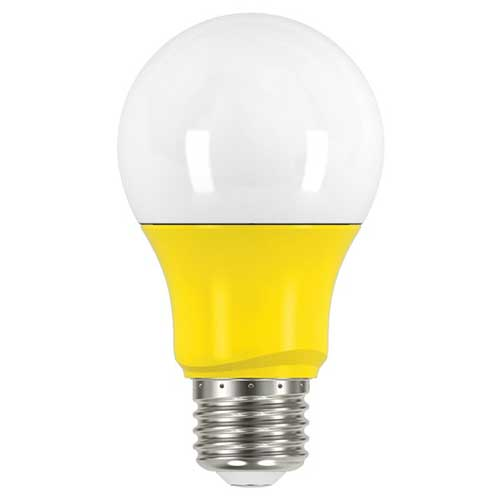 2W LED A19 COLORED HOUSEHOLD BULB YELLOW. CASE OF 6