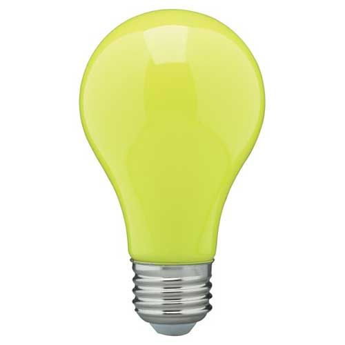 8W LED A19 COLORED HOUSEHOLD BULB YELLOW. CASE OF 6
