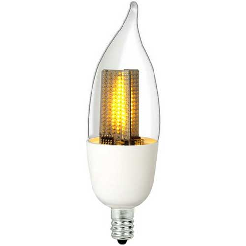 1W LED CLEAR FLICKER-FLAME BULB CANDELABRA BASE 120V 2200K