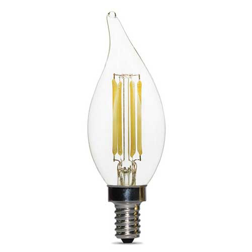 4W LED CLEAR FLAME-TIP CANDELABRA BASE CHANDELIER BULB 2700K. DIMMABLE. CASE OF 25