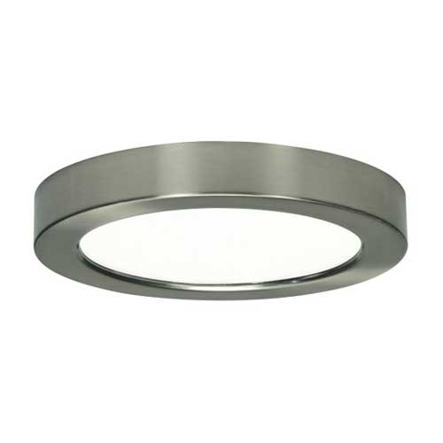 13w Led 7 Round Flush Mount Fixture Brushed Nickel 3000k Dimmable Satco