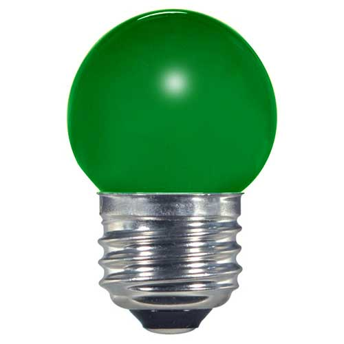 1.2W LED S11 SIGN/SPECIALTY LIGHTBULB  CERAMIC GREEN COLOR. CASE OF 6