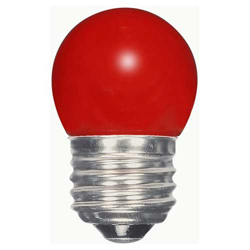 1.2W LED S11 SIGN/SPECIALTY LIGHTBULB  CERAMIC RED COLOR. CASE OF 6