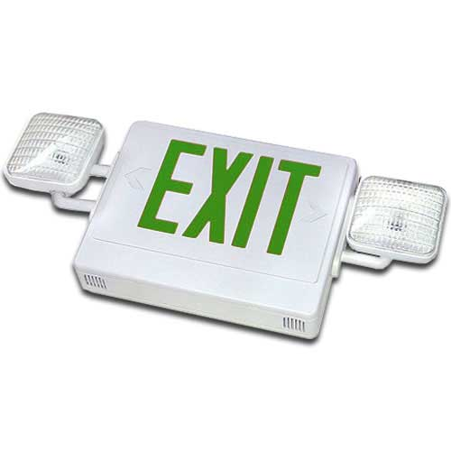 White LED Exit Sign Emergency Light Combo (Green Letters)