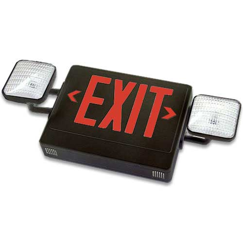 Black LED Exit Sign Emergency Light Combo (Red Letters)
