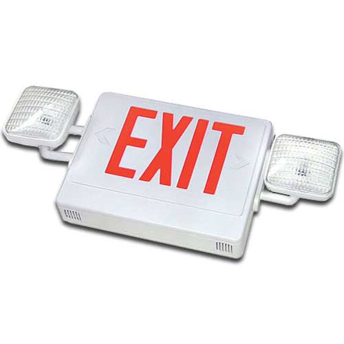 White LED Exit Sign Emergency Light Combo (Red Letters)