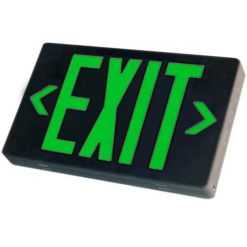Black LED Exit Sign (Green Letters)