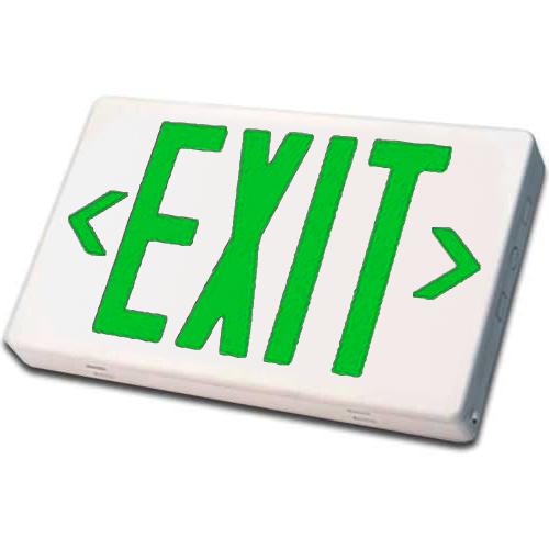 White LED Exit Sign (Green Letters)
