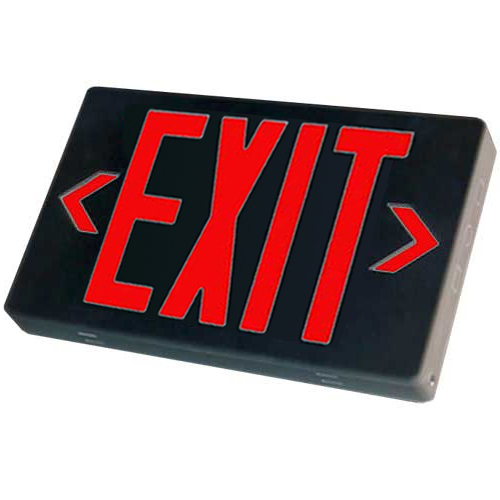 Black LED Exit Sign (Red Letters)