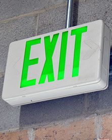 Exit Sign Glowing Green