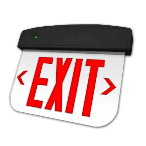 THERMOPLASTIC LED EDGELIT EXIT SIGN. SINGLE FACE. RED LETTERS/CLEAR PANEL/BLACK HOUSING - BATTERY BACKUP