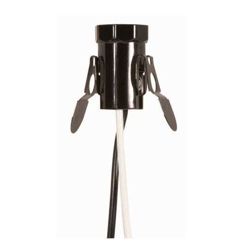 Candelabra Base Socket Brown Finish W/Spring Clips & 24