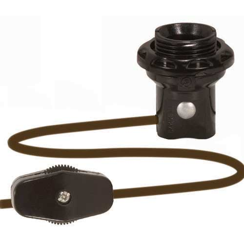 Candelabra Threaded Socket W/Shoulder & Ring - 6Ft Brown Cord, Plug & Switch
