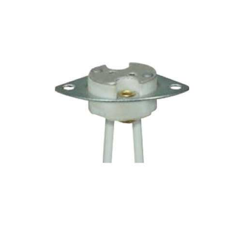Halogen Socket Porcelain Gx5 -3 Base - Metal Plate & Mounting Holes - 8