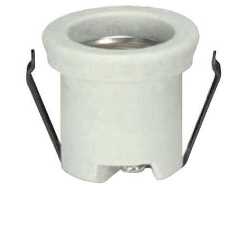 Keyless Porcelain One Piece Shallow Back Socket - Double Snap In Clips, Unglazed