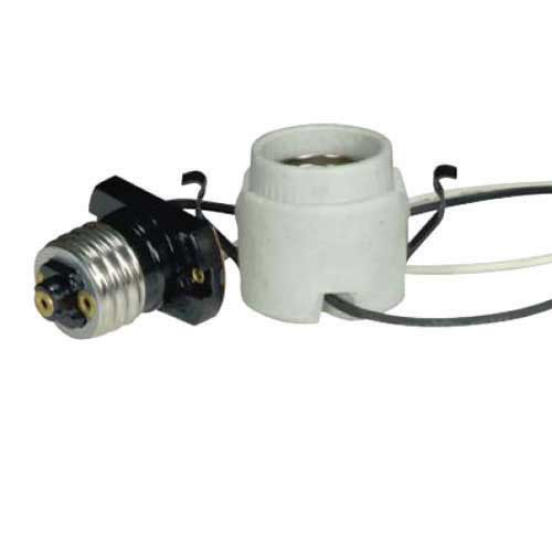 Keyless Porcelain Socket With Adapter & Double Snap In Clips
