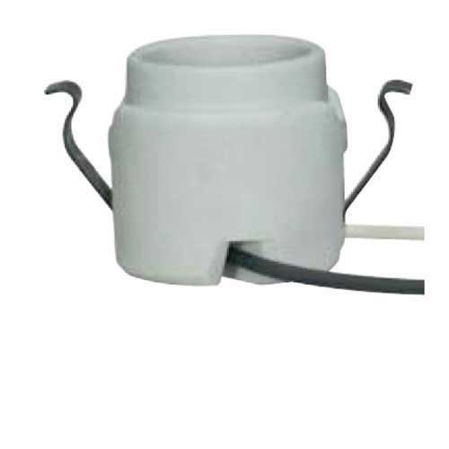 Keyless Porcelain Socket With Rim & Double Snap In Clips
