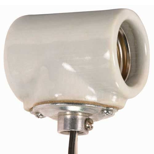 Twin Porcelain Socket With 1/8 Ip Flange Bushing Cap - 10