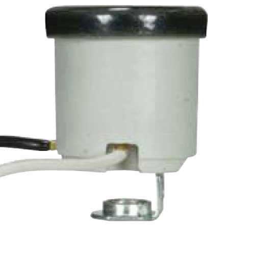 Keyless Porcelain Socket With 1/8 Ip Hickey & Black Rim