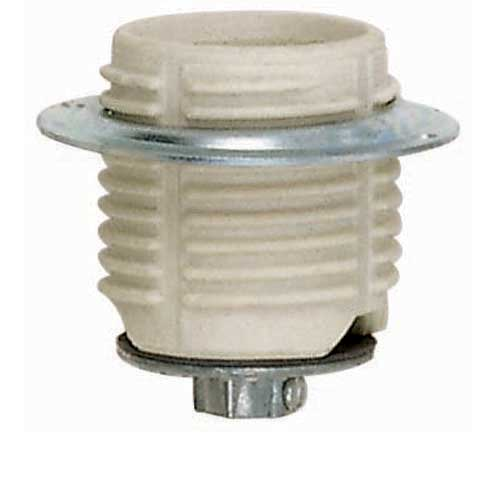Keyless Threaded Porcelain Medium Base Socket With Cap & Ring - 1/4 Ip Cap
