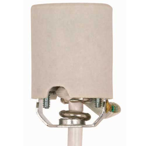 Keyless Porcelain Socket With 1/8 Ip U-Bracket Hickey, Strain Relief & White Fiber Sleeve