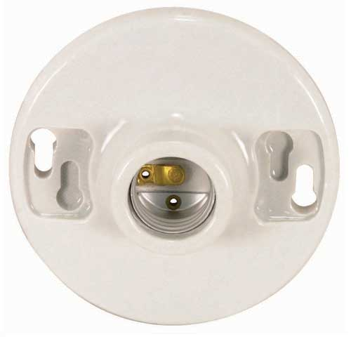 Keyless Porcelain Ceiling Receptacle - 2 Screw Terminals