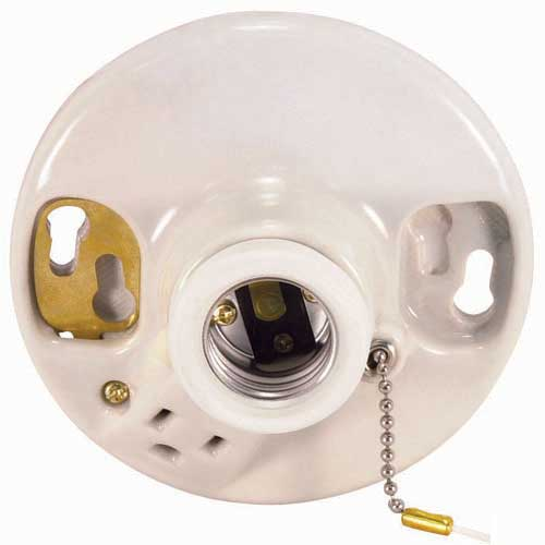 Pull Chain Porcelain Ceiling Receptacle - On/Off With Grounded Convenience Outlet