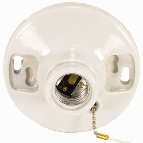 Pull Chain Porcelain Ceiling Receptacle - On/Off