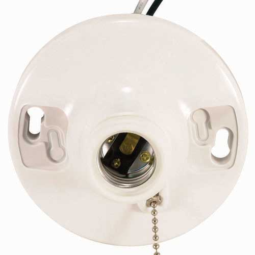 Pull Chain White Phenolic Ceiling Receptacle - On/Off - 6