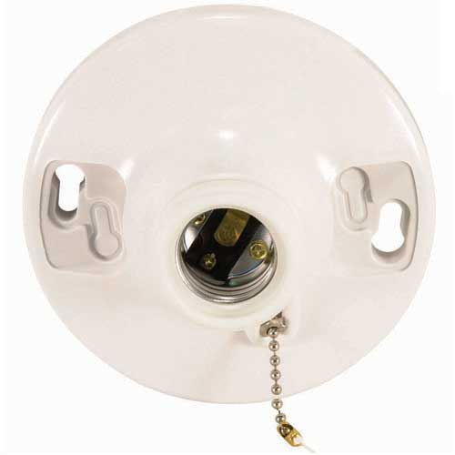 Pull Chain White Phenolic Ceiling Receptacle - On/Off