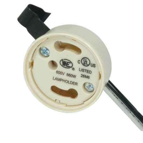 Gu24 Electronic Socket Cap - Safety Design Phenolic, Snap Bracket W/Leads & Ground