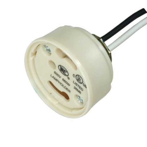 Gu24 Electronic Socket Cap - Safety Design Phenolic, 1/8Ip Bushing W/Quick Wire Terminals