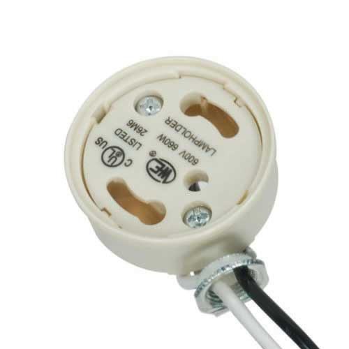 Gu24 Electronic Socket Cap - Safety Design Phenolic, Side Mount Bracket W/Quick Wire Terminals