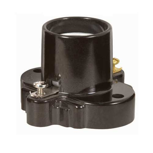 Medium Base Phenolic Receptacle W/Mounting Holes & Screw Terminals - Brown