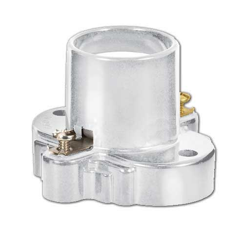 Medium Base Phenolic Receptacle W/Mounting Holes & Screw Terminals - White