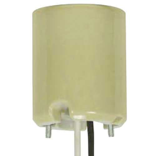 Yellow Porcelain Mogul Socket For Position Oriented Hid Fixture - 4Kv Pulse Rated
