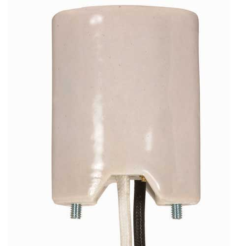 Porcelain Mogul Socket - 5Kv Pulse Rated - 2 8/32 Bushings - 14Ga Leads