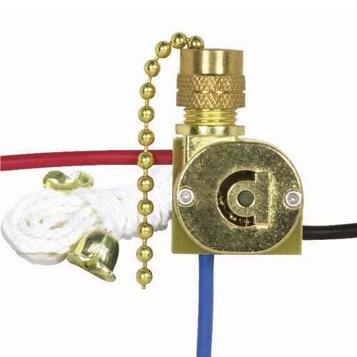 Canopy Switch, 3Way - Brass Finish Chain, White Cord & Bell - 2 Circuit, 4 Position