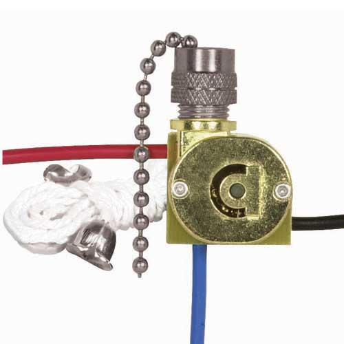 Canopy Switch, 3Way - Nickel Finish Chain, White Cord & Bell - 2 Circuit, 4 Position