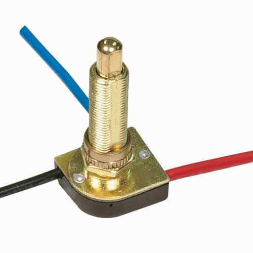 Push Switch, 3Way - Brass 1 1/8