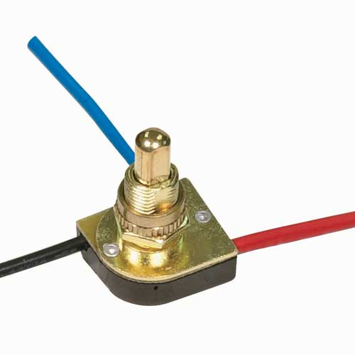 Push Switch, 3Way - Brass 3/8
